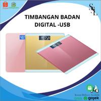 Timbangan Badan Digital Kaca Dengan Temperature Sensor & Isi Daya USB