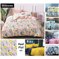 Vige Bedcover Set Katun Motif Bunga Hibiscus Size Single   Bad Cover