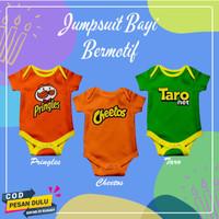Baju Jumper Jumpsuit Anak Bayi Laki Cewek Baru Lahir Motif Lucu Murah - Cheetos, 0-6 bln (M)