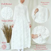 Gamis Brukat Impor Putih / Baju Muslim / Dress Muslim Putih #241
