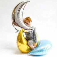 Balon foil karakter bulan sabit baby shower anak anak gold silver moon