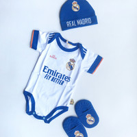 Set 3 in 1 Jumper Bayi Bola Real Madrid Baju Kaos Anak Bayi