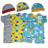 3 Baju Kodok Jumper Pendek Topi Velvet Bayi Newborn Laki Perempuan