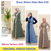 Original Nibras Gamis Wanita nb b07 Baju Syari Terbaru 2021 Navy Hijau