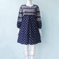 Tunik Batik Shanaya Modern Dress atasan navy biru SM L XL XXL