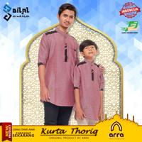 Baju koko Muslim Couple Ayah dan Anak Lengan Pendek Kurta Thoriq Savci - Maroon, XL Dewasa