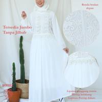 Baju Gamis Brukat Putih / Baju Muslim / Dress Muslim Putih #9982