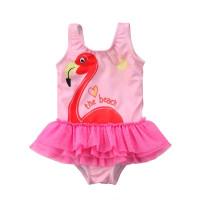 BAJU RENANG BAYI PEREMPUAN PINK FLAMINGO SWIMSUIT BABY GIRL IMPORT - 6-12 bulan