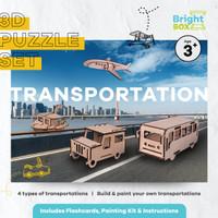 3D Puzzle Wood (Kayu) Sets - Build & Paint Your Own Transportation