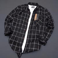 ✓kemeja flanel pria lengan panjang premium pola slim fit shirt 001