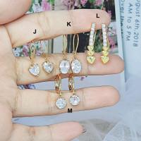 Anting Xuping Lapis Emas Asli Gold Bentuk Segitiga Batu Pink - BE155