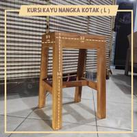 Kursi Bangku Kuat Kayu Nangka Kotak Ukuran L - Tinggi 50cm