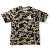 Bape Sta Camo Ape Head T-shirt Yellow 100% Original