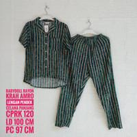 Baju Tidur Rayon AMRO Lengan Pendek Krah Celana Panjang (CPRK)