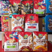 RITZ Toasted Chips oven baked crackers 55% less fat snack diet 226 gr