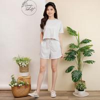 Setelan Wanita Crop Top Set Lengan Pendek dan Celana Pendek Wanita Ste - Set - Abu Misty