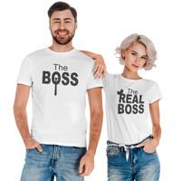 Kaos Couple Pasangan Katun Premium The Real Boss Adem Bahan Nyaman - Putih, M & M