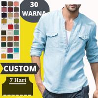 Custom Baju Kemeja Pria Bahan Linen Shirt Casual L XL 2XL 3XL 4XL 5XL