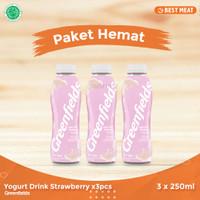 Yogurt Greendfields Drink Strawberry 250 ml x 3pcs