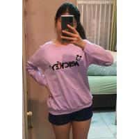 Kaos Long Sleeve Import Murah Wanita / Motif Mickey Soda - Big Size - Lilac