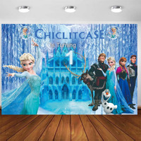 backdrop frozen banner spanduk ulang tahun elsa anna olaf dekorasi - 1x1 m