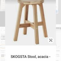 bangku kayu, kursi bakso, kayu pinus 48/50 cm
