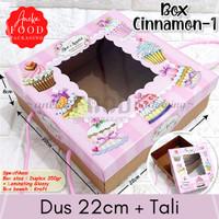 Dus kotak kue box makanan pink window cupcake 22cm (Cinnamon 1)