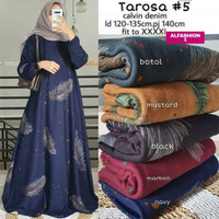 Tarosa Baju Gamis Polos Wanita Ibu Hamil Motif Bulu Jumbo XXL Ld 120 - Hitam