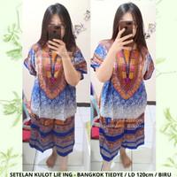 Setelan kulot Lie Ing LD 120 Piyama Batik Motif Tie Dye Baju Tidur - Biru