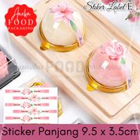 Sticker label panjang kue makanan pink bunga 9.5 x 3.5cm (5lembar) E