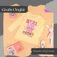 Baju Army BTS Kaos Distro Anak Perempuan - Koala BT21 - Peach