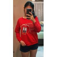 Kaos Long Sleeve Import Murah Wanita / Motif Mickey Eyes - Big Size - Hitam