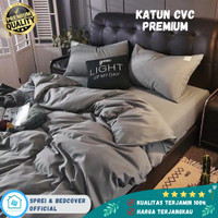 Bed cover set Katun Catra Premium Polos Abu Abu Homemade