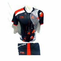baju badminton setelan kaos badminton pria volli basket - hitam merah, M