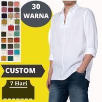 Custom Baju Kemeja Koko Pria bahan Kain Linen Polos Terbaru
