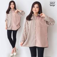Atasan Kemeja Hem Wanita Cewek Jumbo XXL LD 120 Baju Jumbo Big Size - 5057-beige
