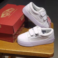 sepatu anak perempuan vans oldskool perekat white pink size 20-35
