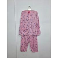 Baju Tidur/Piyama/BabyDoll Wanita Stelan PP Jumbo XXXL, Flowers - Merah Muda