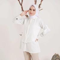 Baju atasan kemeja wanita basic polos Nigata blouse - Putih, M