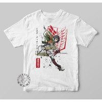 Kaos baju Anak Anime Jepang Kartun Attack On Titan Mikasa - Putih, S - 1-2 tahun