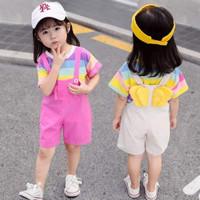 Setelan anak perempuan model korea baju kodok lengan celana pendek jum