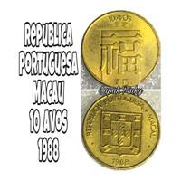 Uang koin kuno macau 10 avos kilap 1988