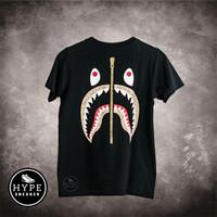 Kaos BAPE A Bathing Ape WGM Shark Brown Black Tshirt 100% ORIGINAL