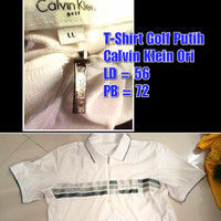 New Without Tag T-Shirt Golf Putih Strip Abu Silver- Calvin Klein