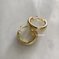 Ring Loop Earrings Anting Bulat Emas Silver - Gold