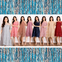 [REAL] Dress AZKA Brokat Tile Glitter Premium Natal Pesta Imlek