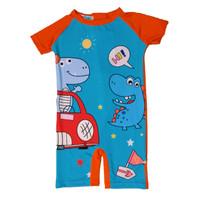 Baju Renang Anak Motif Dino Car Blue Orange