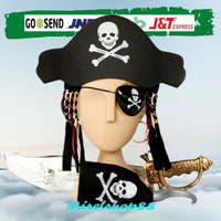 Set bajak laut anak pirates topi pedang anting penutup mata hook