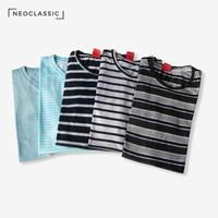 Kaos Baju Stripe Salur Garis Belang Cotton Pria Wanita Pendek All Size
