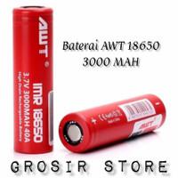Battery AWT 18650 3000mah Merah Batre Baterai